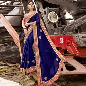Excellent Blue Colored Party Wear Embroidered Silk Chiffon Saree