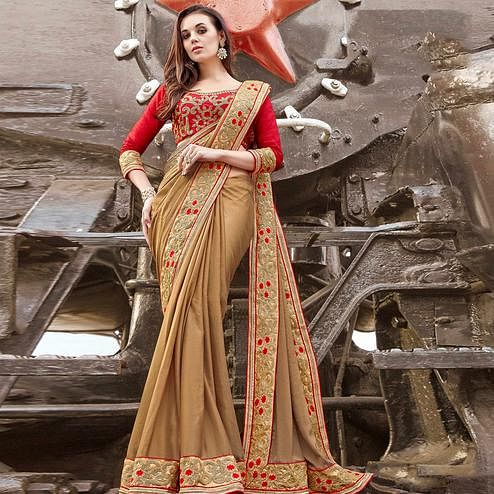 Adorning Beige Colored Party Wear Embroidered Silk Chiffon Saree