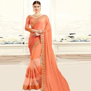 Prominent Peach Colored Designer Party Wear Chiffon-Net Saree