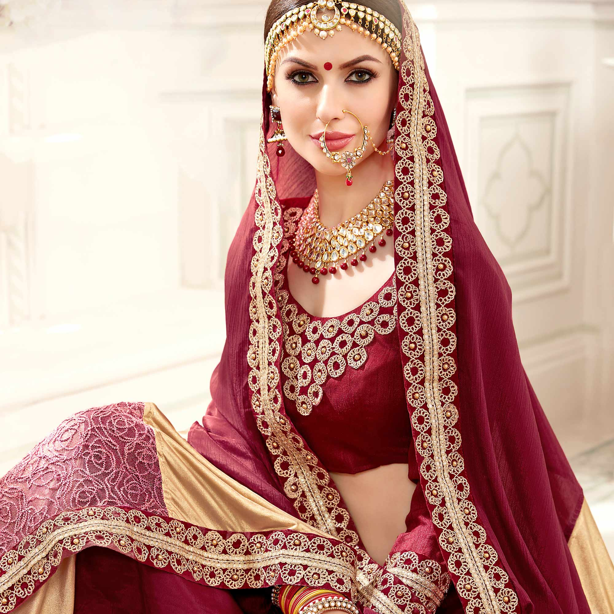 Ideal Maroon & Beige Colored Designer Party Wear Chiffon-Lycra Saree