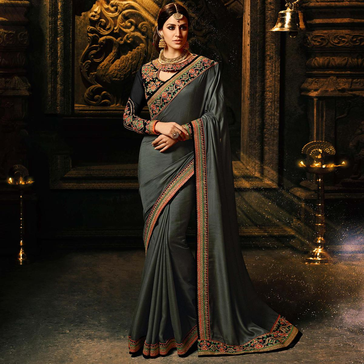 Sophisticated Dark Grey Colored Party Wear Soft Silk Saree