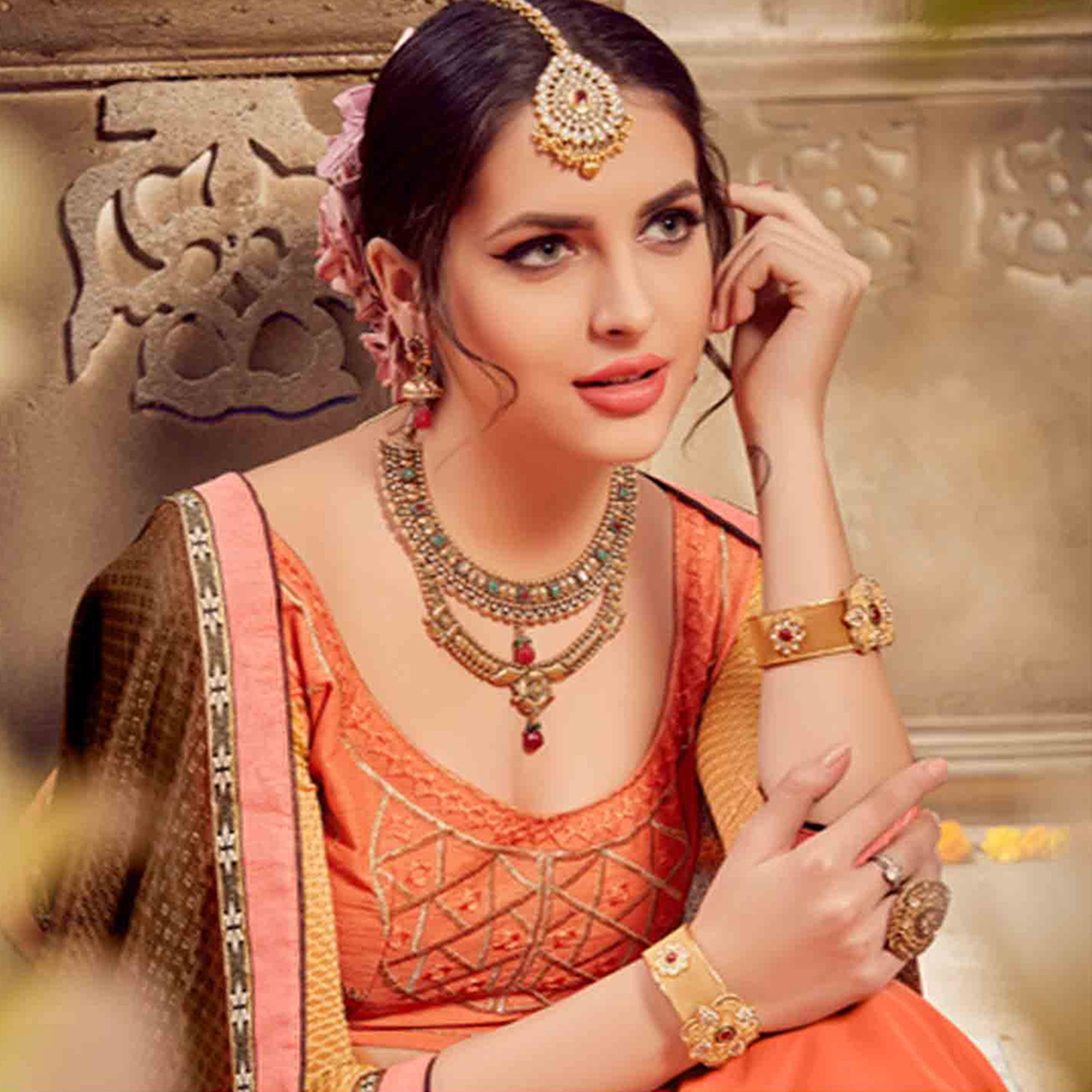 Fantastic  Peach & Brown Colored Party Wear Embroidered Georgette-Jacquard Saree