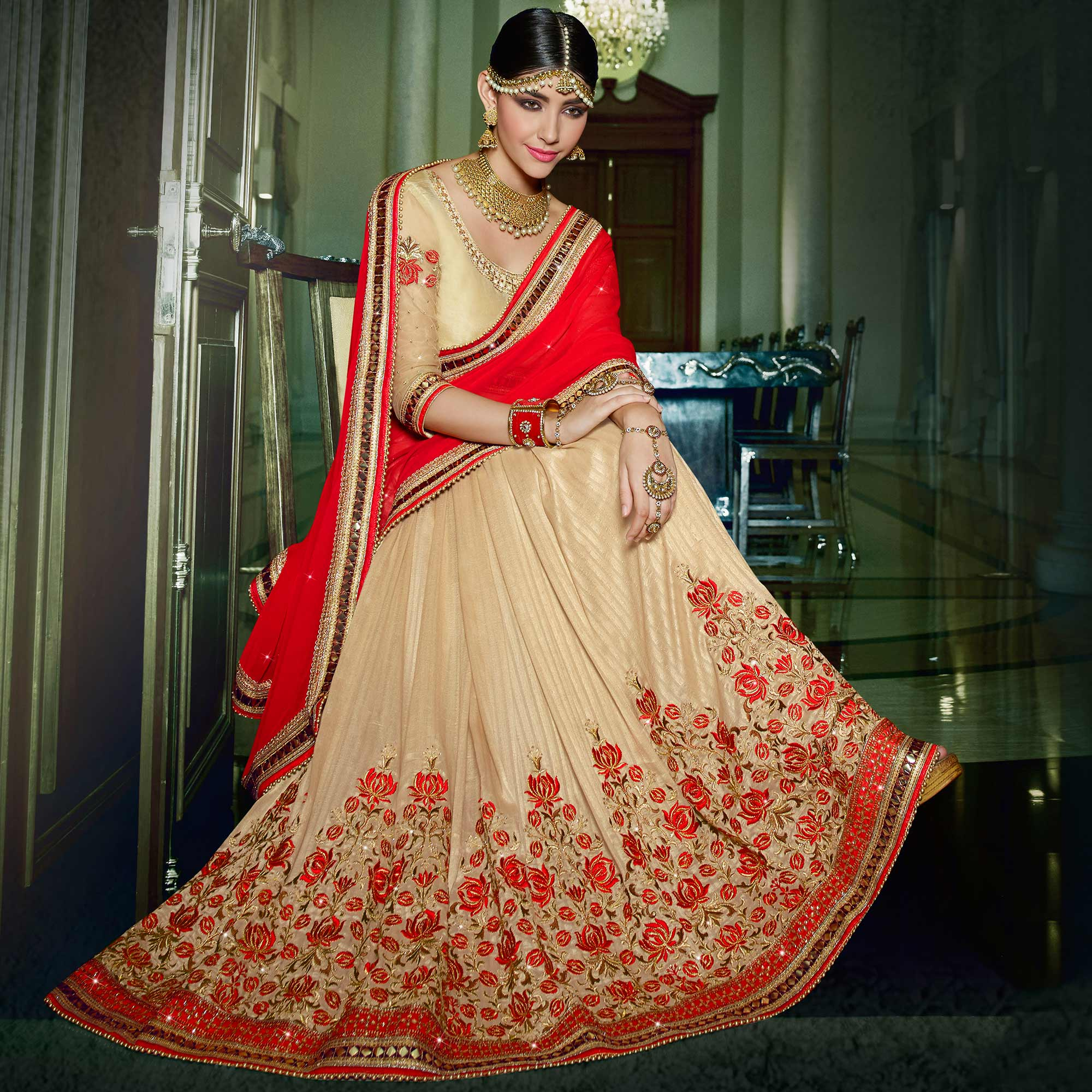 Imposing Red & Beige Colored Party Wear Embroidered Georgette-Brasso Saree