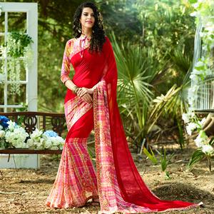Lovely Red Colored Casual Printed Georgette Saree
