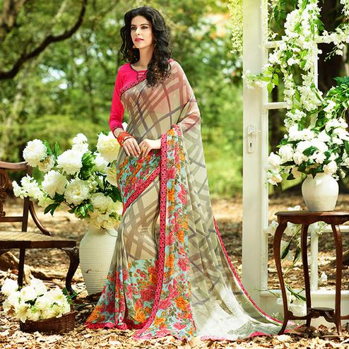 Pretty Beige Colored Casual Printed Georgette Saree