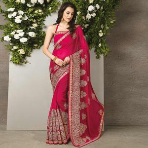 Magenta Colored Party Wear Embroidered Georgette Saree