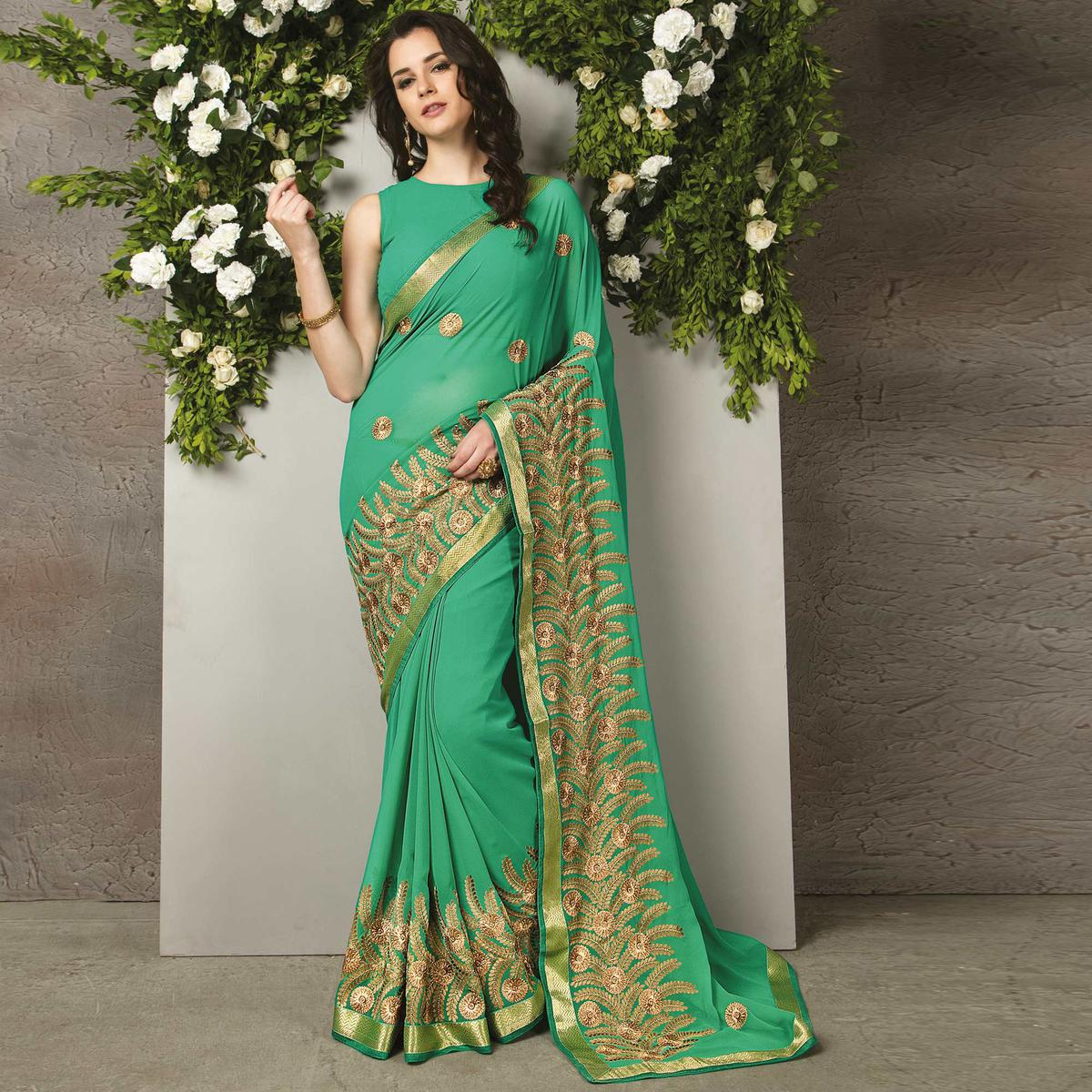 Turquoise Colored Party Wear Embroidered Georgette Saree