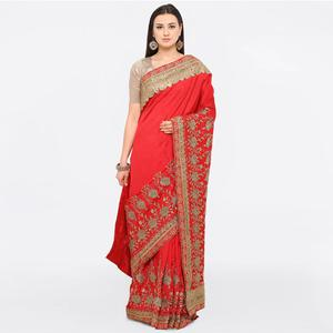 Red Colored Party Wear Embroidered Art Silk Saree