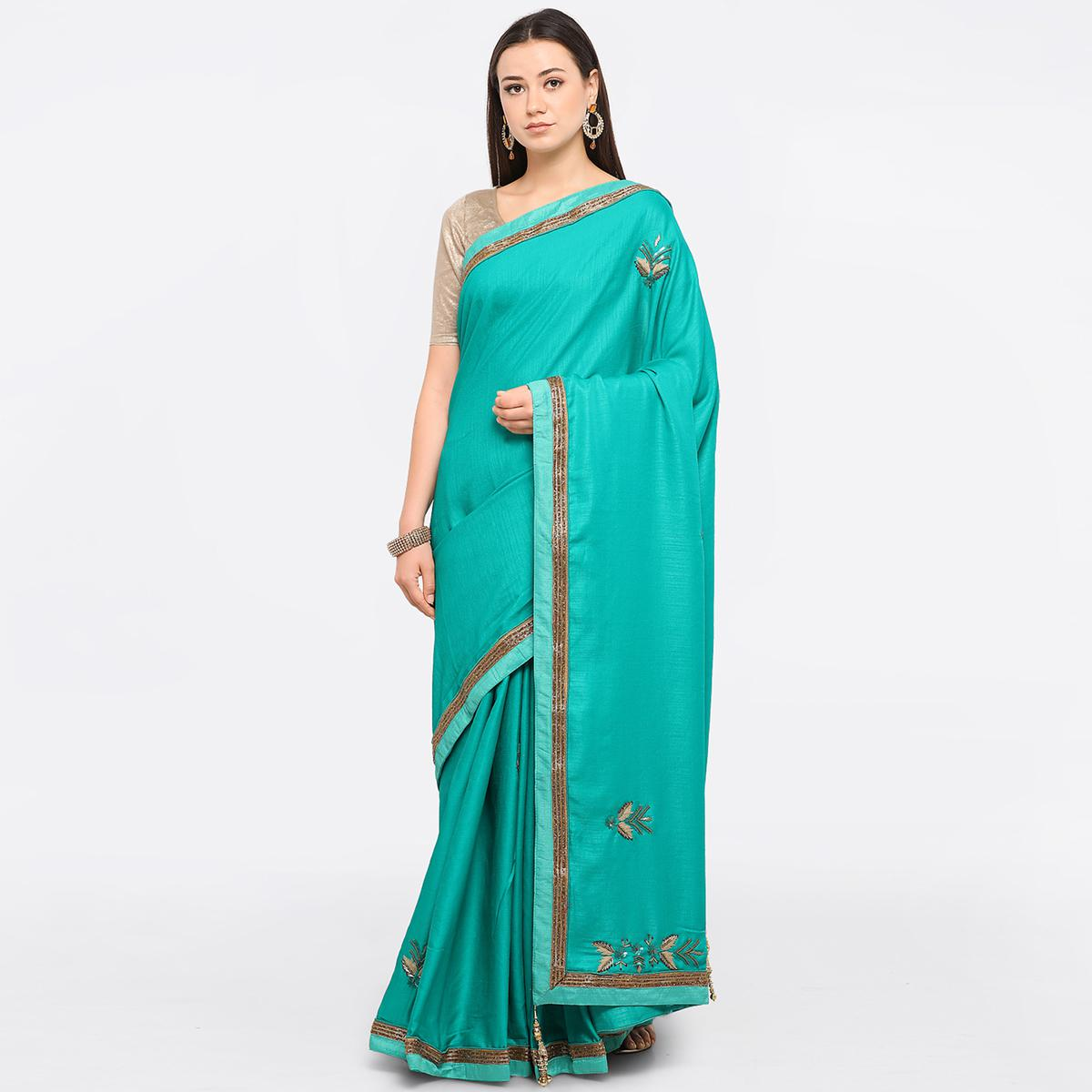 Green Colored Party Wear Embroidered Art Silk Saree