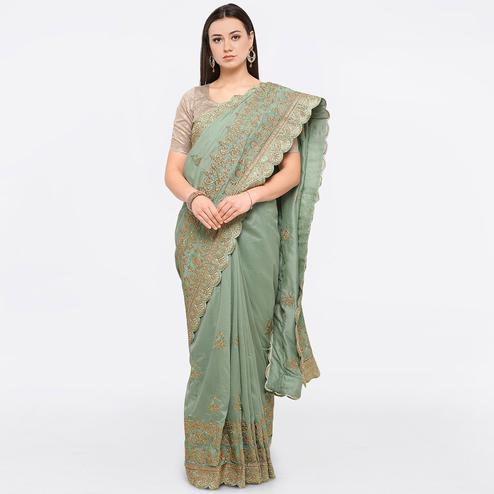 Pastel Green Colored Party Wear Embroidered Art Silk Saree