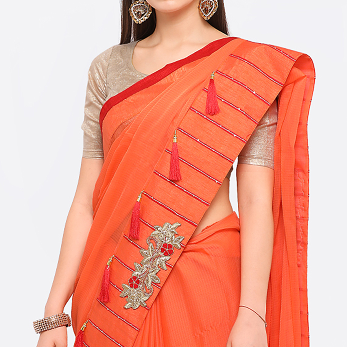 Orange Colored Party Wear Embroidered Chiffon Saree