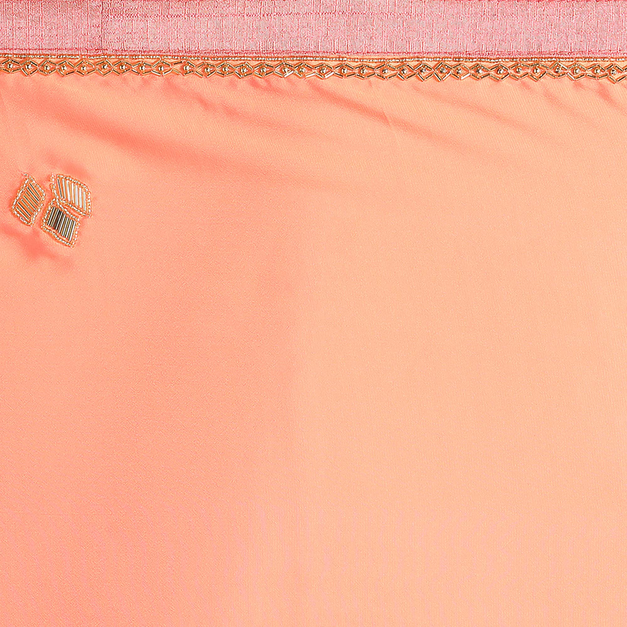 Peach Colored Party Wear Satin Saree