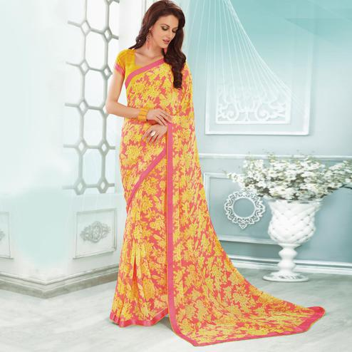 Groovy Yellow & Pink Colored Casual Printed Georgette Saree