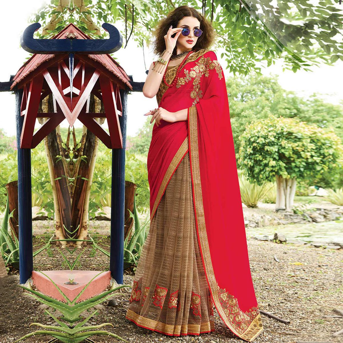Stunning Brown & Red Colored Party Wear Embroidered Georgette-Net Saree