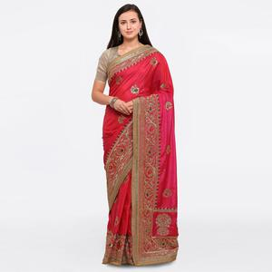 Amazing Pink Colored Party Wear Embroidered Raw Silk Saree