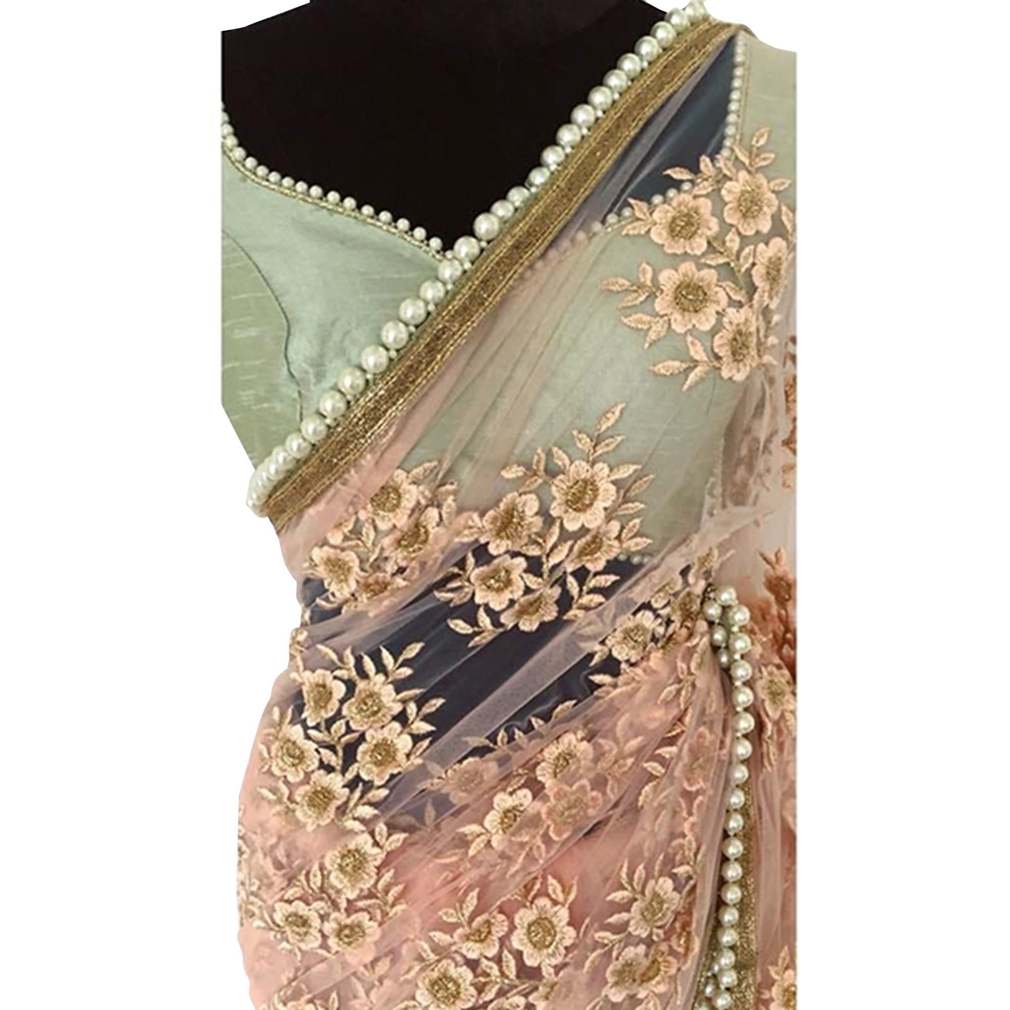 Hypnotic Peach Colored Partywear Embroidered Netted Saree
