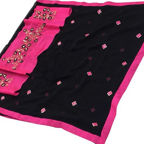 Magnetic Black Colored Partywear Embroidered Georgette Saree