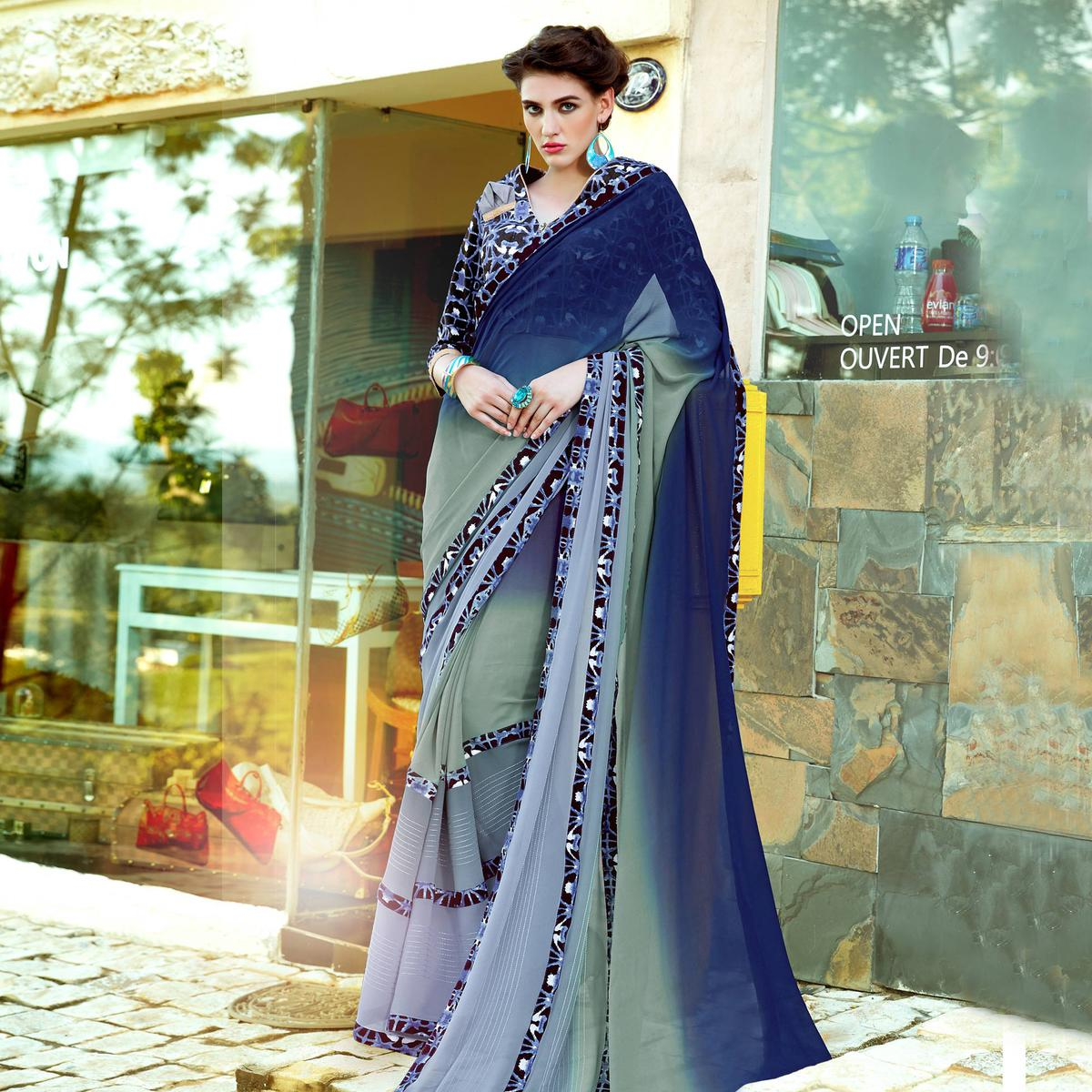 Blue - Grey Digital Printed Georgette Saree
