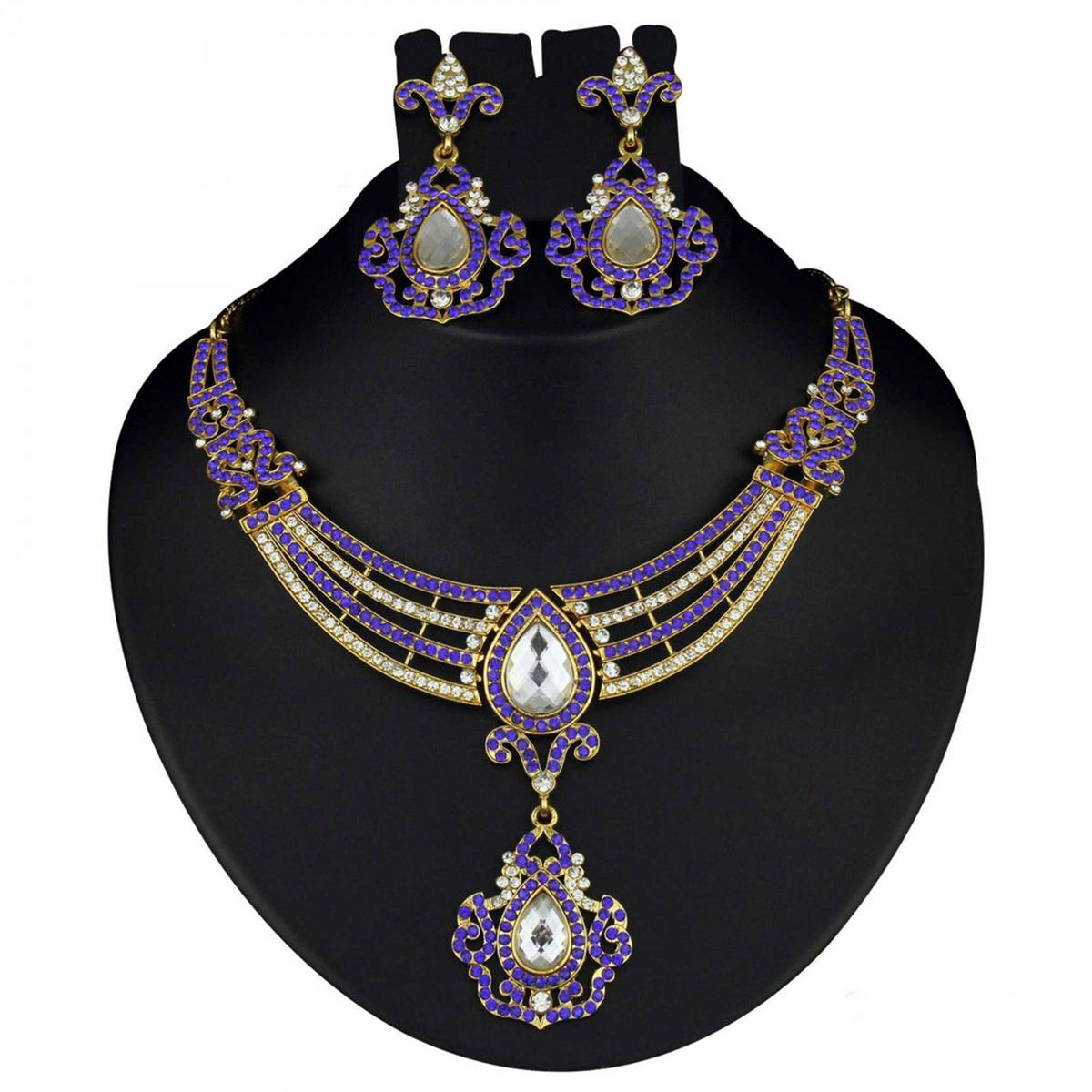 Kundan Blue Austrian Stone Gold Finish Necklace Set