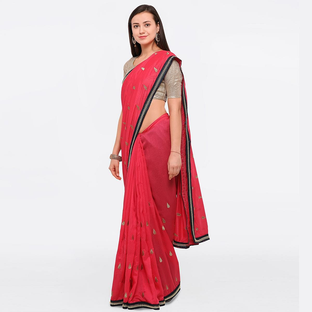 Radiant Pink Colored Party Wear Embroidered Raw Silk Saree