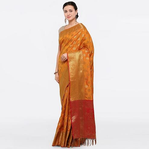 Refreshing Mustard Colored Festive Wear Embroidered Jacquard Silk Saree