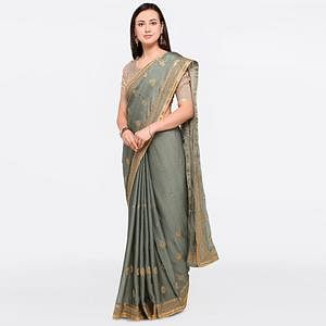 Gleaming Grey Colored Party Wear Embroidered Marble Chiffon Saree
