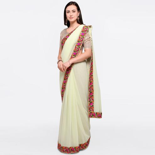 Ethnic Cream Colored Party Wear Embroidered Chiffon Saree