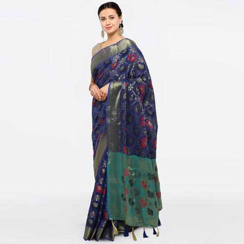 Exotic Blue Colored Festive Wear Embroidered Art Silk Saree