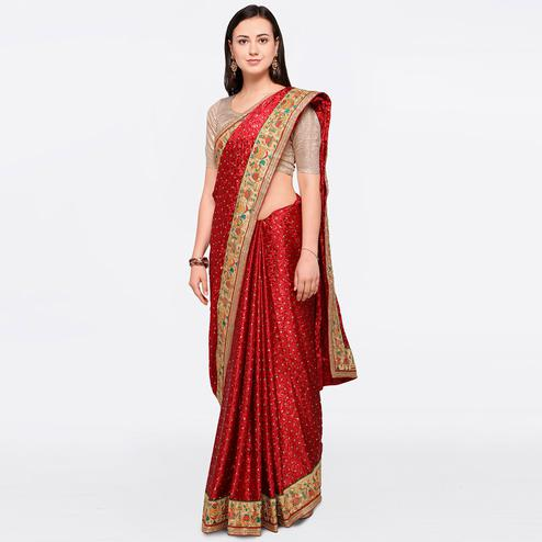 Ravishing Maroon Colored Party Wear Embroidered Brasso Silk Saree