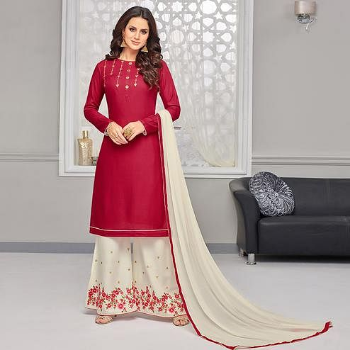 Trendy Maroon Colored Partywear Embroidered Rayon Palazzo Suit