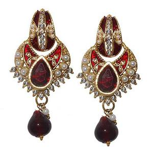 Austrian Stone Red Meenakari Pearl Dangle Earrings