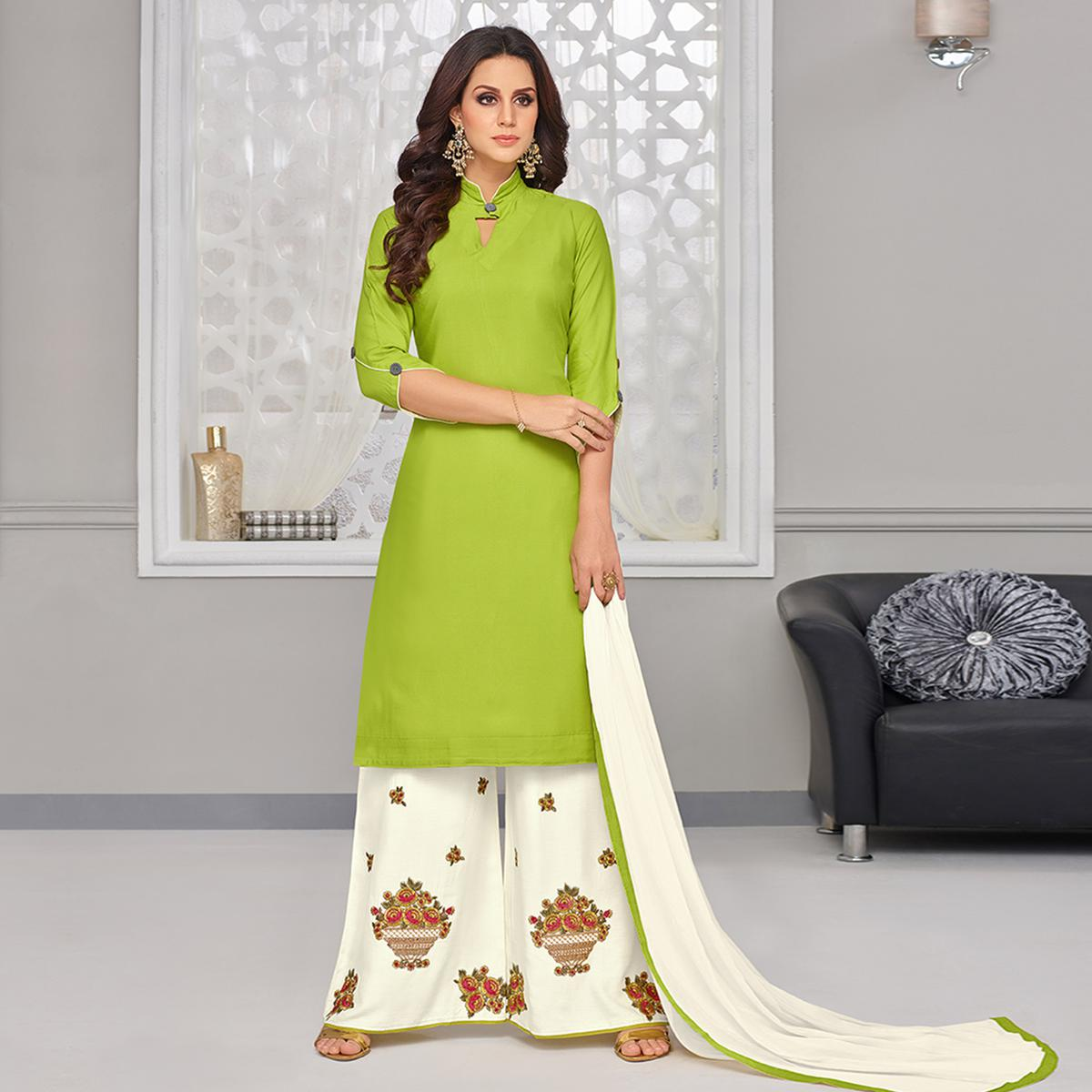 Glowing Green Colored Partywear Embroidered Rayon Palazzo Suit