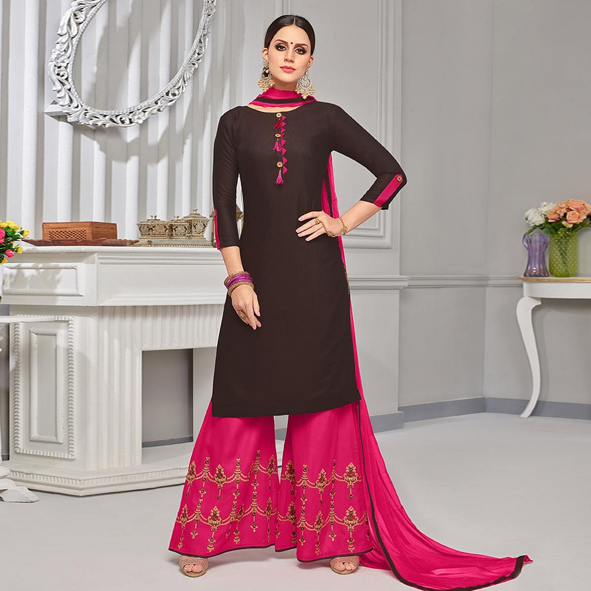 Bold Brown Colored Partywear Embroidered Rayon Palazzo Suit