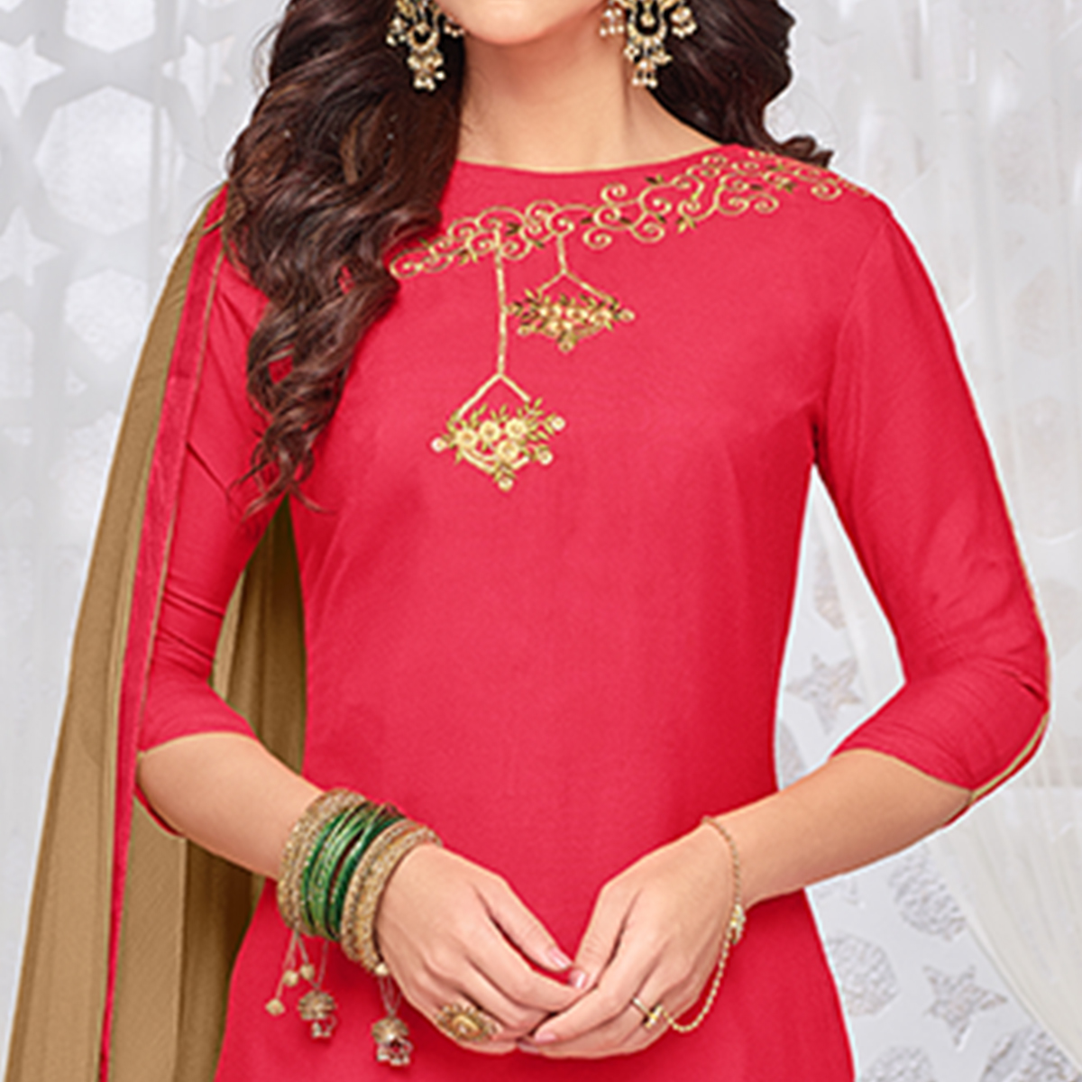 Charming Pink Colored Partywear Embroidered Rayon Palazzo Suit
