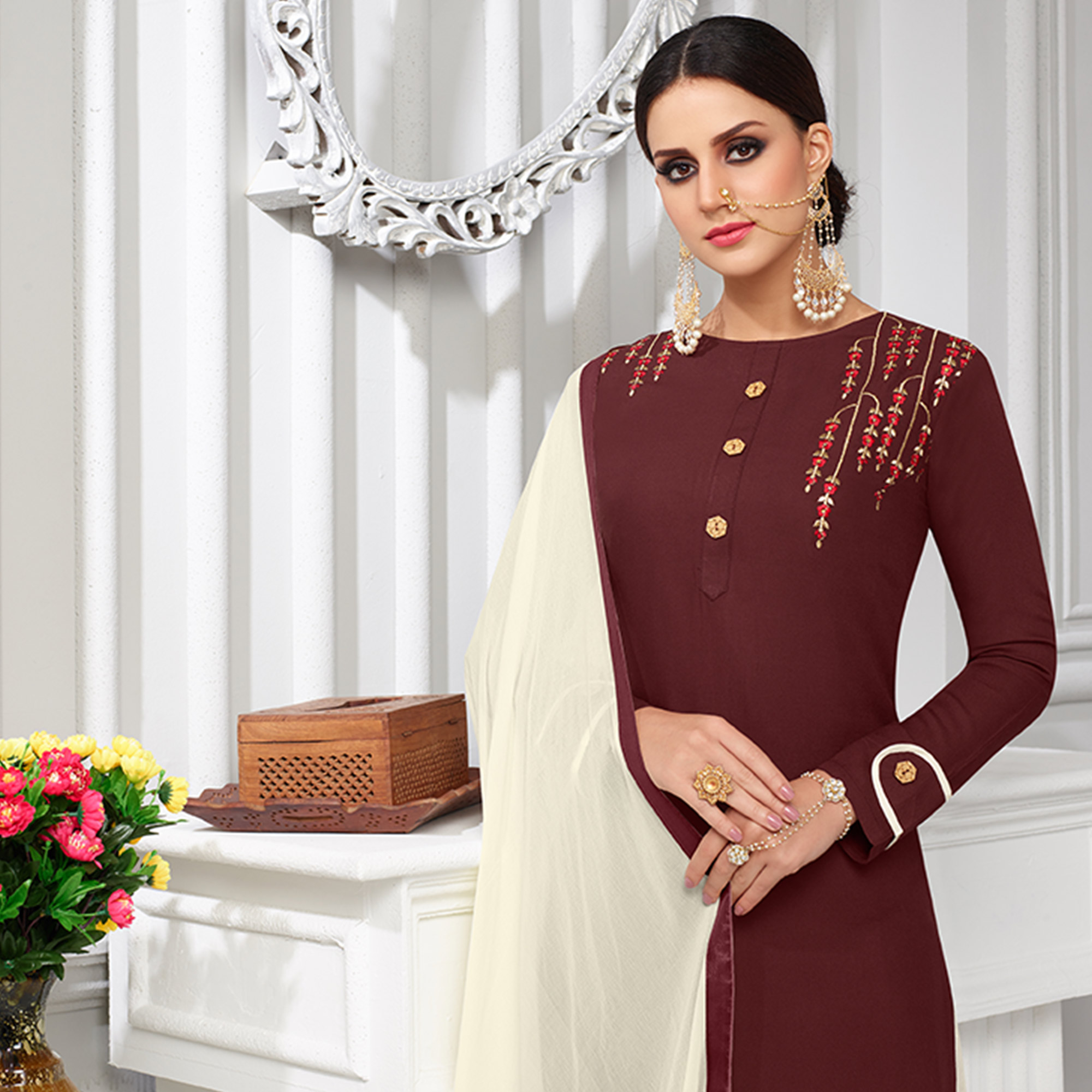 Different Coffee Brown Colored Partywear Embroidered Rayon Palazzo Suit