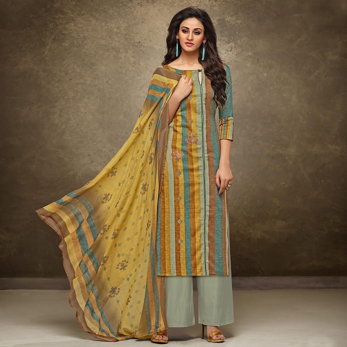 Stunning Multi Colored Partywear Printed Pure Cotton Satin Suit