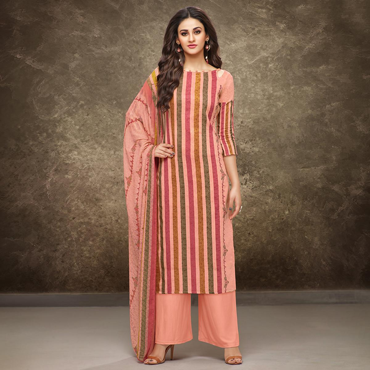 Staring Peach Colored Partywear Printed Pure Cotton Satin Suit