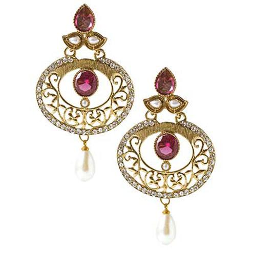 Moti Purple Gold Finish Earring