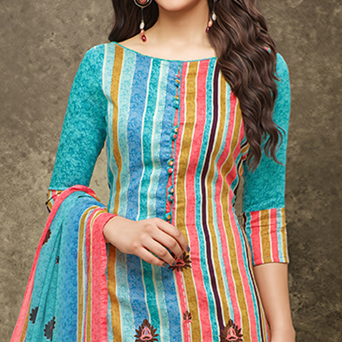 Glowing Sky Blue Colored Partywear Printed Pure Cotton Satin Suit