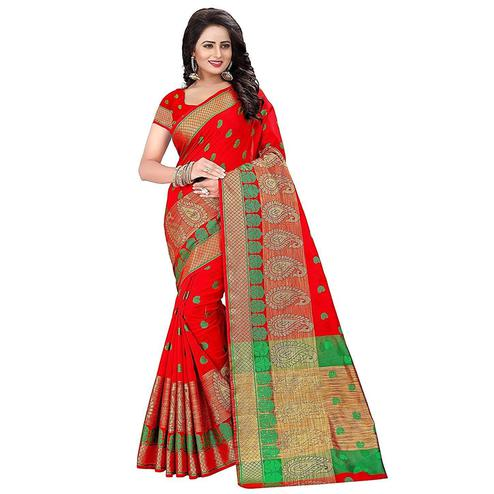 Elegant Red Colored Festive Wear Woven Cotton Saree