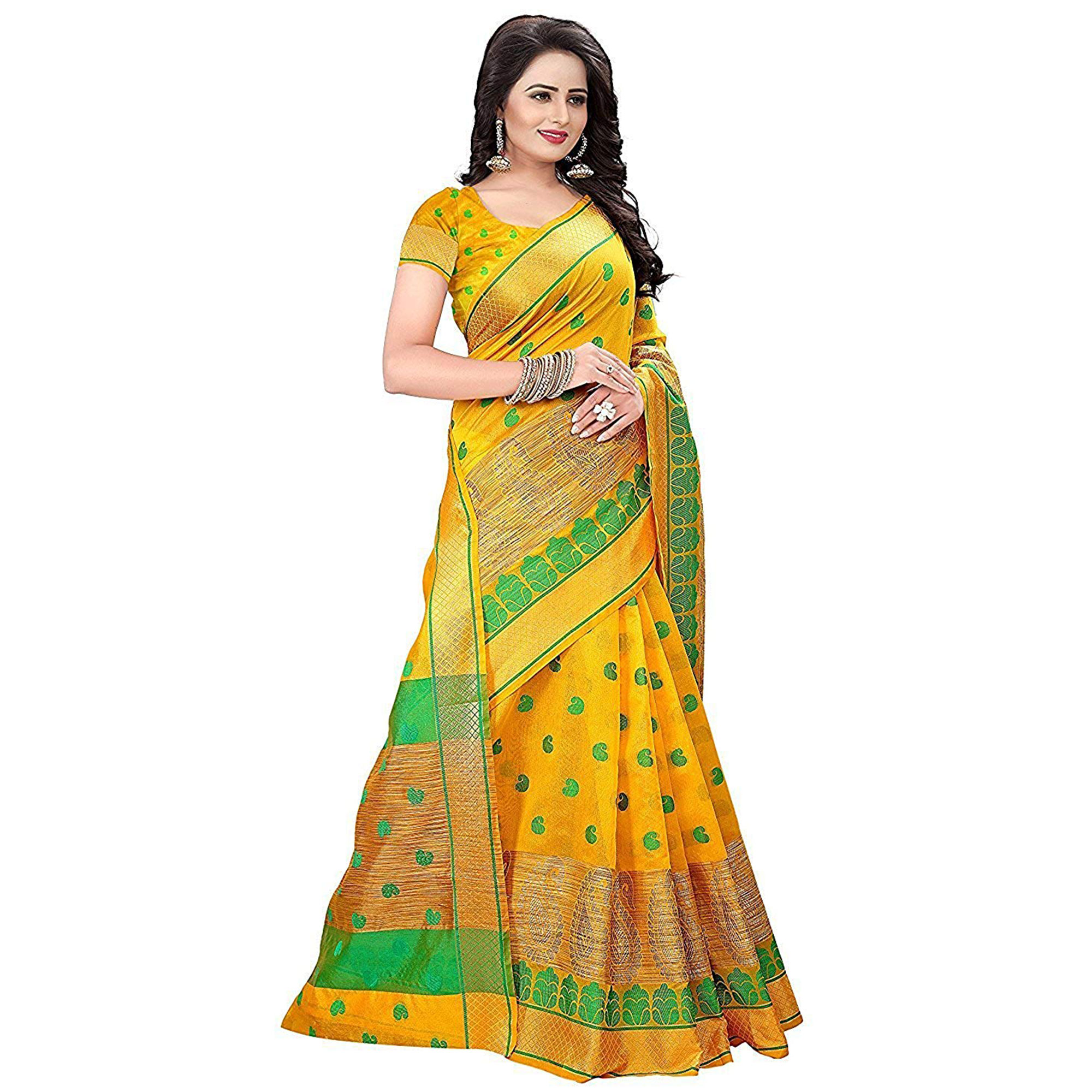 Glowing Yellow Colored Festive Wear Woven Cotton Saree