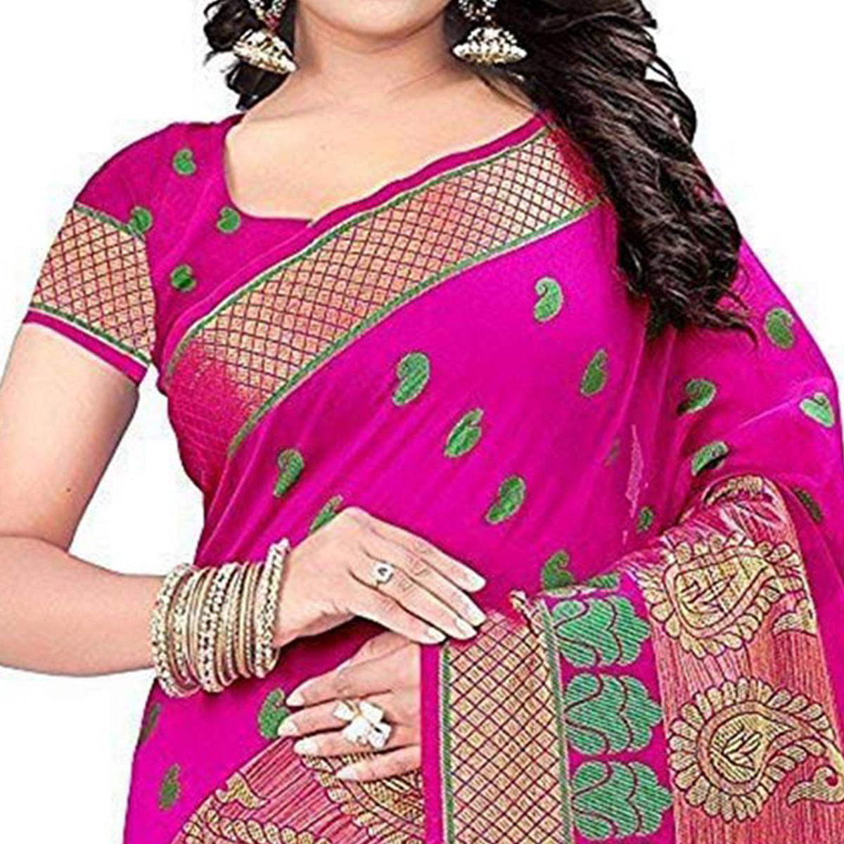 Pretty Pink Colored Festive Wear Woven Cotton Saree