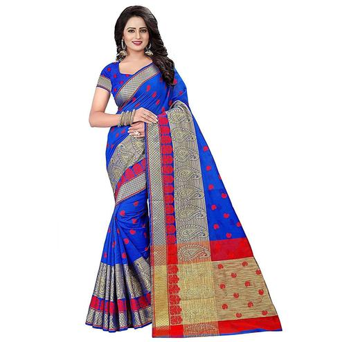 Beautiful Blue Colored Festive Wear Woven Cotton Saree