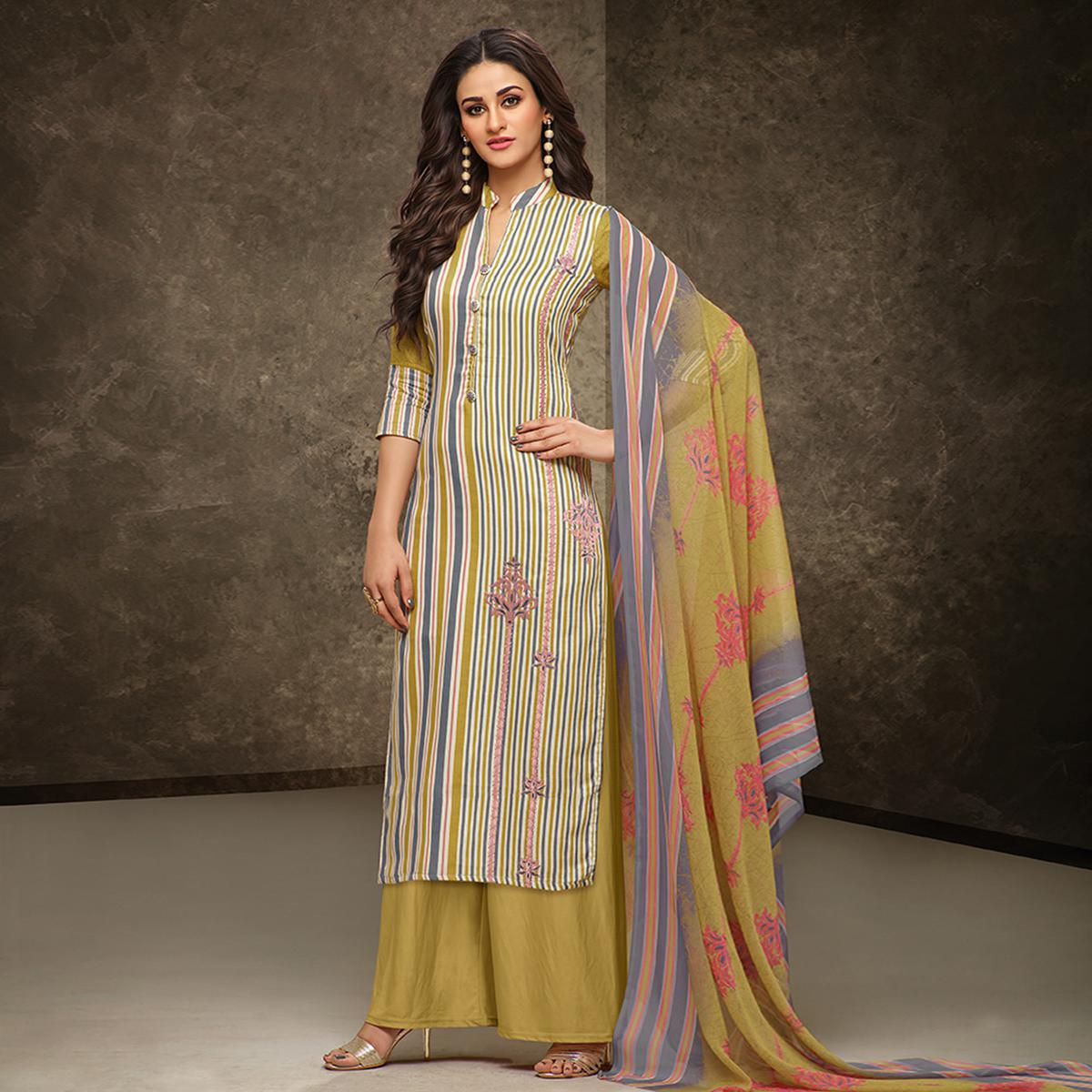 Classy Multi Colored Partywear Printed Pure Cotton Satin Suit