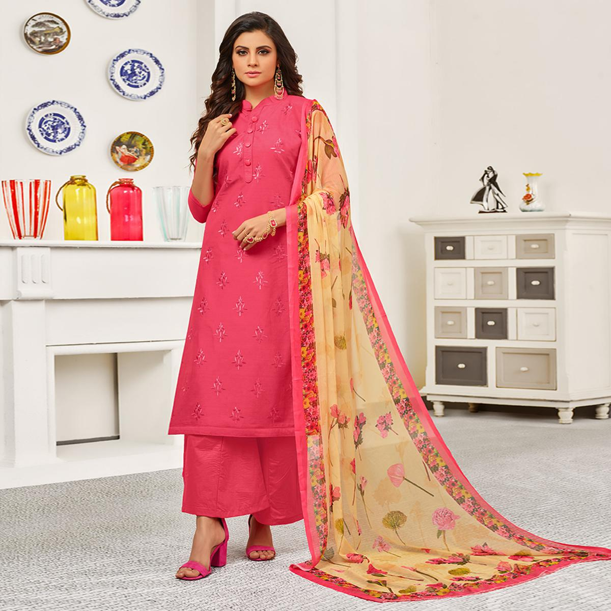 Refreshing Pink Colored Partywear Embroidered Cotton Suit