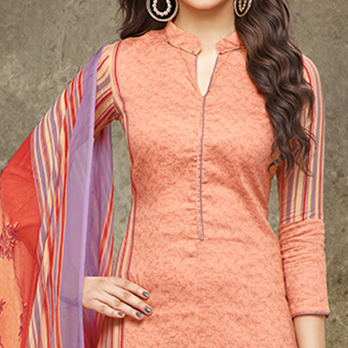 Appealing Peach Colored Partywear Printed Pure Cotton Satin Suit