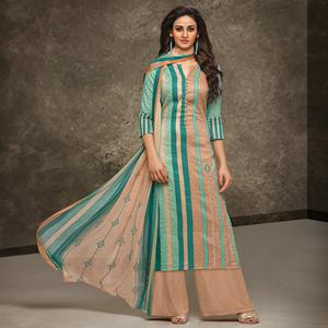 Beautiful Multi Colored Partywear Printed Pure Cotton Satin Suit