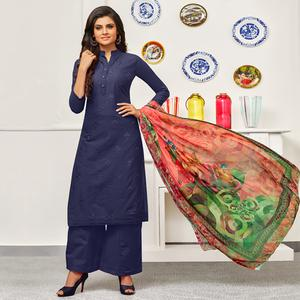 Amazing Navy Blue Colored Partywear Embroidered Cotton Suit
