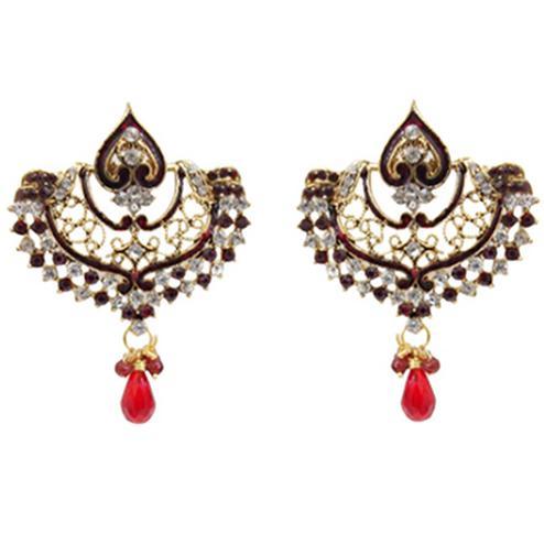 Red Austrian Stone Meenakari Gold Plated Chandbali Earrings