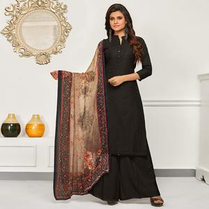 Stunning Black Colored Partywear Embroidered Cotton Suit